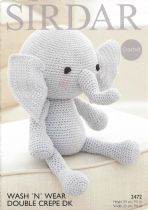Sirdar Wash 'n Wear Double Crepe - 2472 Elephant Toy Crochet Pattern